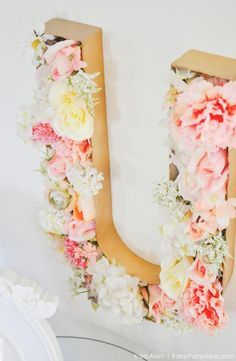 Floral letter at a Unicorn themed birthday party by Kara's Party Ideas | Kara Allen | KarasPartyIdeas.com