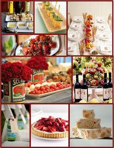 Italian themed dinner party. Love the tomato can with flowers and cups of bread sticks
