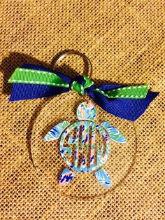 094ff89b3b6578 Lilly Pulitzer Turtle Monogram Key Chain by SouthernIdeology on Etsy  https   www.