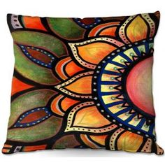 Decorative Outdoor Patio Pillow Mock Up | Ann Marie Cheung - Sunburst | Flower mandala nature spiritual
