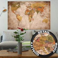 Pin board bulletin board xxl 90x60cm 2 sided world map and cork poster used look wall picture decoration globe continents atlas world map earth geography retro old gumiabroncs Images