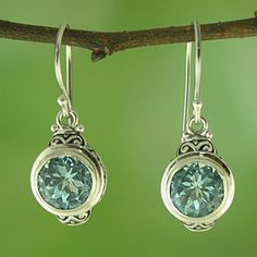 Sterling Silver and Blue Topaz Round Dangle Earrings (Indonesia)....... OMG I love love love these!!!!