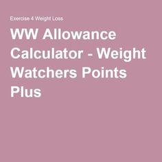 WW Allowance Calculator - Weight Watchers Points Plus Weight Watcher Point System, Weight Watchers Points Calculator, Weight Watchers Program, Weight Watchers Breakfast, Weight Watchers Smart Points, Points Plus Recipes, Ww Recipes, Free Recipes, Dinner Recipes