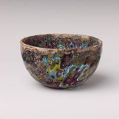 Mosaic glass hemispherical bowl  Period: Hellenistic  Date: 2nd–1st century B.C.  Culture: Greek  Medium: Glass