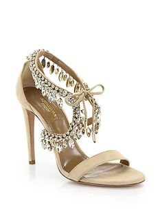 86965d86abe14 Luxe suede sandal with cascading crystal-trimmed ankle Self-covered heel