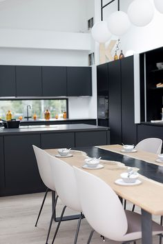 Kitchen trends 2019 from Housing Fair Finland Asuntomessut 2019 Kouvola - Talo Korea Kitchen Trends, Black Kitchens, Conference Room, Finland, Table, Korea, House, Furniture, Home Decor