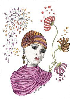 Femme au turban #1 camaïeu de violet et de jaune Marie Digne-Kazamarie Octobre 2015
