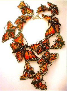 Monarch Beaded Butterfly necklace by Huib Petersen