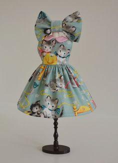 Sweet Petite Vintage Kittens Knittin Dress by SweetPetiteShoppe