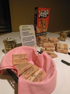 Fun shower activity - wedding advice jenga I have a Jenga game and we have yet to use it!