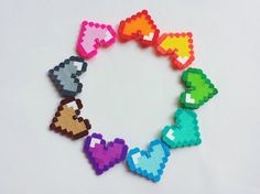 Heart Perler Charms, make your own, DIY, do it yourself, you choose colors, pendants, kawaii, kandi, perler beads on Etsy, $1.25