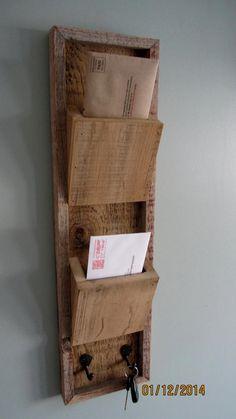 barnwood mail organizer with hooks