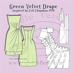this would take a lot of planning, but what a neat retro style well-suited: Pattern Puzzle - Green Velvet Drape Green Velvet Drape - A homage to Ceil Chapman 1950 Over a year ago I found the image of this. Vintage Patterns with My Fitted Dress Block (well Dress Sewing Patterns, Vintage Sewing Patterns, Clothing Patterns, Pattern Cutting, Pattern Making, Sewing Tutorials, Sewing Projects, Velvet Drapes, Patron Vintage