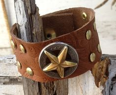 CUFF bracelet embossed leather brown with RANGER STAR and studs by whackytacky, $39.99