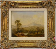 """HENRY P. HUNT  Mountainous Valley Landscape  oil on board  signed and dated on reverse  H.P. Hunt March 10th 1852  8"""" x 10"""""""