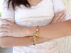 colored natural stone gold plated bracelet by sevinchjewelry, $32.00 #bracelet #jewelry #summerfashion