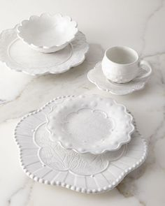 Sweetbriar Salad Plate and Matching Items by MacKenzie-Childs at Horchow. Stoneware Dinnerware, White Dinnerware, Wood Plate Chargers, Kitchen Essentials List, Tabletop Accessories, Whitewash Wood, White Dishes, Decorated Jars, Charger Plates
