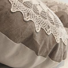 Large Country cottage round doily pillow made of by Angelshair