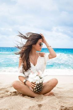 THE ULTIMATE SUMMER ROMPER FOR YOUR NEXT VACATION ----- Lovers + Friends White Cold-Shoulder Ruffle-Trim Romper Maui Hawaii Beach Pineapple Cocktail