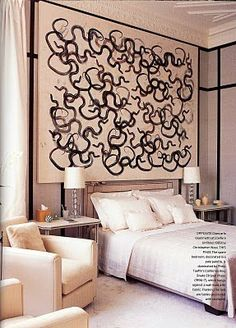 Habitually Chic®: Valentino at Home: London obsessed with doing a black and white painting as a headboard like this