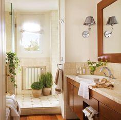 Hiedra y maranta para el baño  La hiedra filtra las sustancias químicas de perfumes y desodorantes que puede haber en el aire del baño y la maranta –en la encimera– necesita humedad y poca luz.