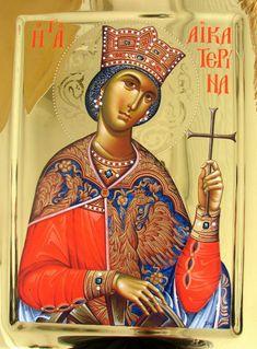 Αγία Αικατερίνα / Saint Catherine Byzantine Icons, Orthodox Christianity, Religious Icons, Orthodox Icons, Princess Zelda, Disney Princess, Alexandria, Holy Spirit, Saints