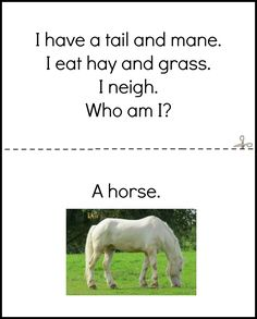 Preschool Early Literacy Farm Book Horse Page