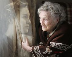 """Premium Photo Competition Pinner says """"This is a portrait of my grandmother at 21 on the left and 92 on the right, composited in Photoshop,"""