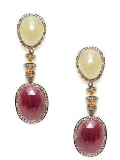 Amrapali Diamond, Ruby, & Sapphire Freeform Earrings
