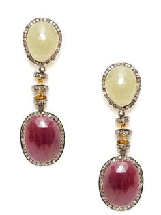 Amrapali Diamond, Ruby, & Sapphire Freeform Earrings