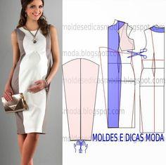 MOLDE DE VESTIDO-163 ~ Moldes Moda por Medida