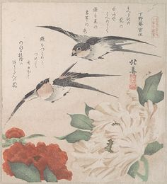 Teisai Hokuba (Japanese, 1771–1844). Spring Rain Collection (Harusame shū), vol. 3: Swallows and Peonies, ca. 1820. The Metropolitan Museum of Art, New York. H. O. Havemeyer Collection, Bequest of Mrs. H. O. Havemeyer, 1929 (JP2362) | The poems, most commonly kyōka (witty thirty-one syllable verse), inscribed on surimono prints usually include felicitous imagery connected with spring.