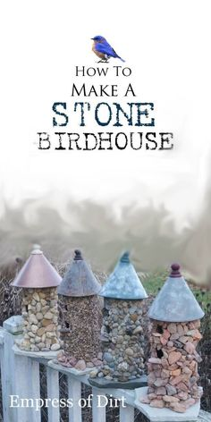Stone birdhouses are easy to make and, with the right materials, can be kept in the garden year-round. The trick is to use a sturdy wood birdhouse as the base, and attach stones with the right adhesive for a lasting bond. All the information is in this tutorial.