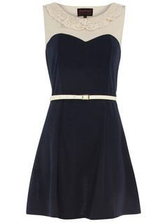 peter pan collar belted dress