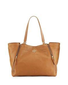 Ivy Leather Tote Bag, Bark