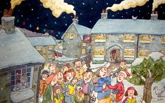 `Carol Singer` Pen & Ink with watercolour  Picturesque village, creating a winter scene www.bretthudson.co.uk