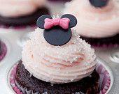 MIni MInnie Mouse Cupcake Fondant Toppers. $9.00, via Etsy.