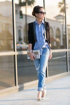 Boyfriend Jeans kombinieren: Looks für jede Figur (Top Outfit) Jeans Boyfriend, Vaqueros Boyfriend, Pantalones Boyfriend, Blazer Jeans, Denim Jeans, Jeans Heels, Denim Shirts, Cropped Jeans, Skinny Jeans