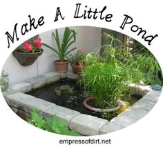 How to make a little pond at http://empressofdirt.net/make-a-little-pond-tips-tricks-and-project-ideas/