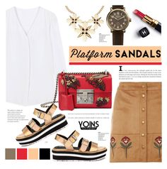 """Platform sandals - yoins 2.8"" by cly88 ❤ liked on Polyvore featuring Dorothy Perkins, Gucci, Chanel and Shinola"