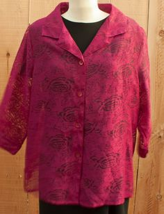 French Laundry bouse floral cutout look button front collar and lapels XL -? ck #FrenchLaundry #Blouse #anytime