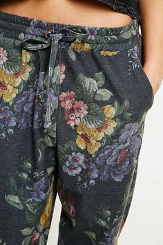 Pins & Needles Floral Sweat Pants in Grey