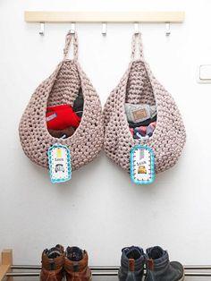 Zpagetti waszakken haken Crochet Laundry / Storage bags #Crochet #Haken