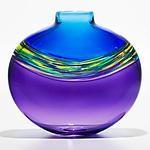 "Michael Trimpol ~ ""Transparent Banded Vortex Vase in Cerulean Cool Lime and Grape"" glass art"