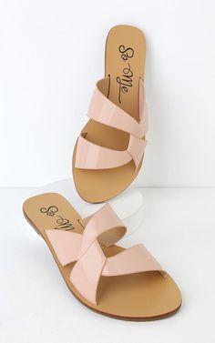 Order the Hanako Blush Patent Slide Sandals Here. Shoes Flats Sandals, Sandals Outfit, Cute Sandals, Sport Sandals, Slide Sandals, Flip Flop Sandals, Shoe Boots, Flip Flops, Sandal Heels