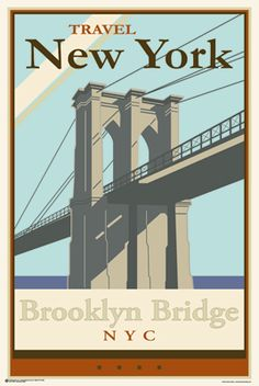 Brooklyn Bridge Art Print Poster 24x36 Shrink Wrapped New York Travel 9815   eBay