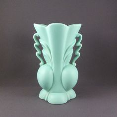 Haeger Pottery Pale Turquoise Art Deco Vase  by PrairieDecArts