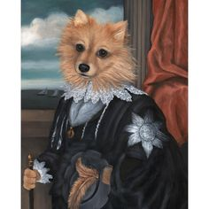 Pomeranian Anthropomorphic Portrait Print Zero Dog by OldWorldPetPortraits