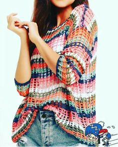 Uma coisa interessante essa blusa de croche com listras. Crochet Skirts, Crochet Cardigan, Crochet Shawl, Knit Crochet, Crochet Prayer Shawls, Knitting Patterns, Crochet Patterns, Knitted Poncho, Filet Crochet