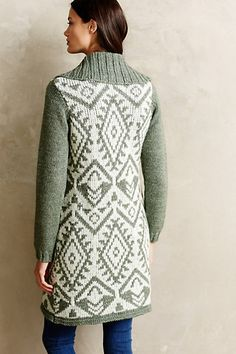 Great cozy cardigan to wear with jeans or leggings. I love the aztec pattern on the back and sage color.